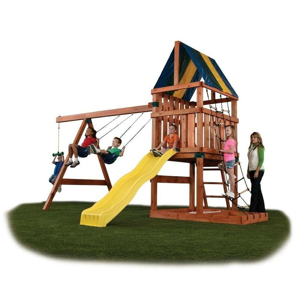 Wooden Swing Outdoor Kit For Kids Big Backyard Slide