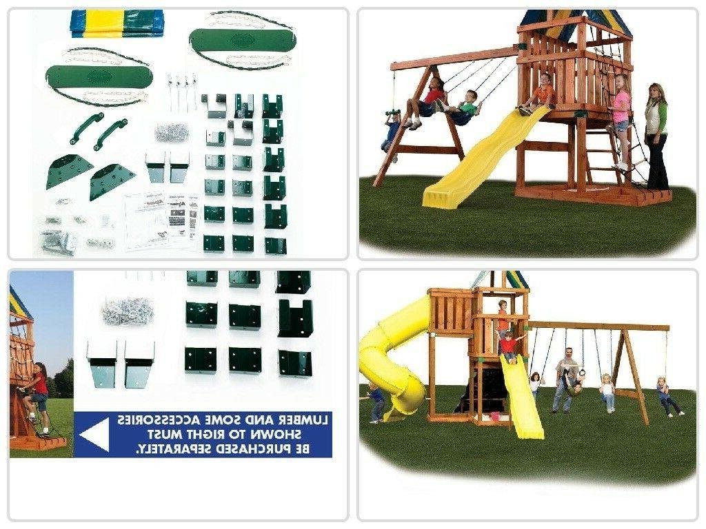 Wooden Swing Outdoor Kids Big Backyard Slide