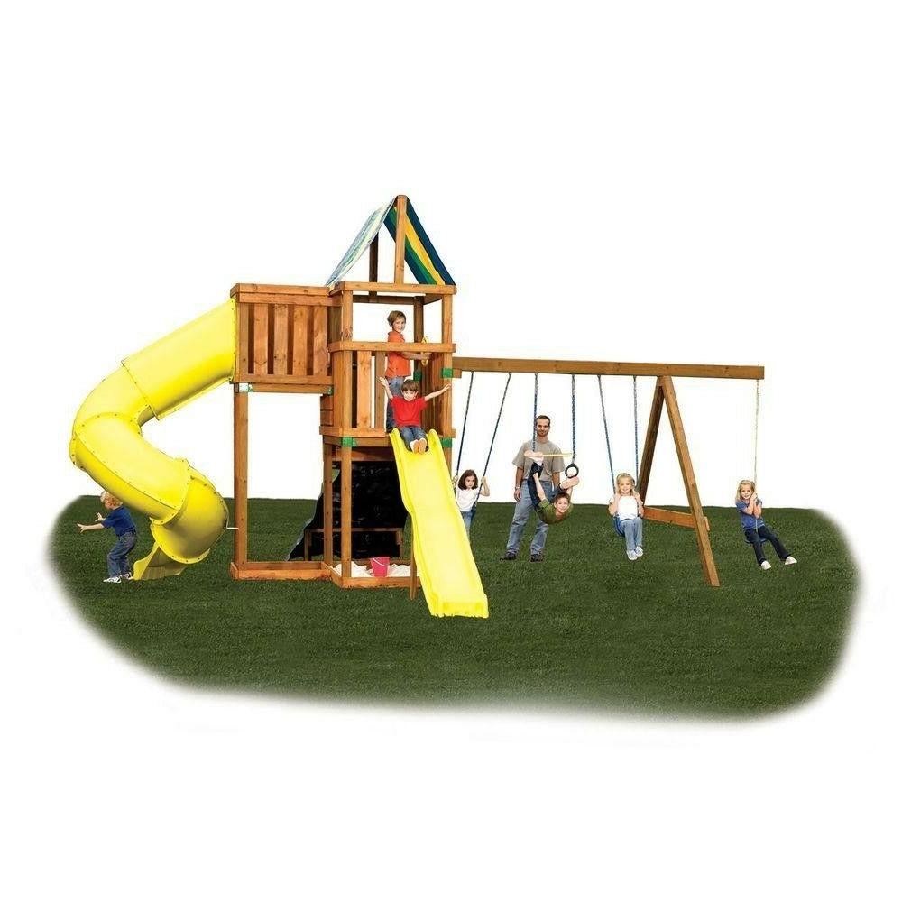 Wooden Swing Set Patio Outdoor Playhouse Kit For