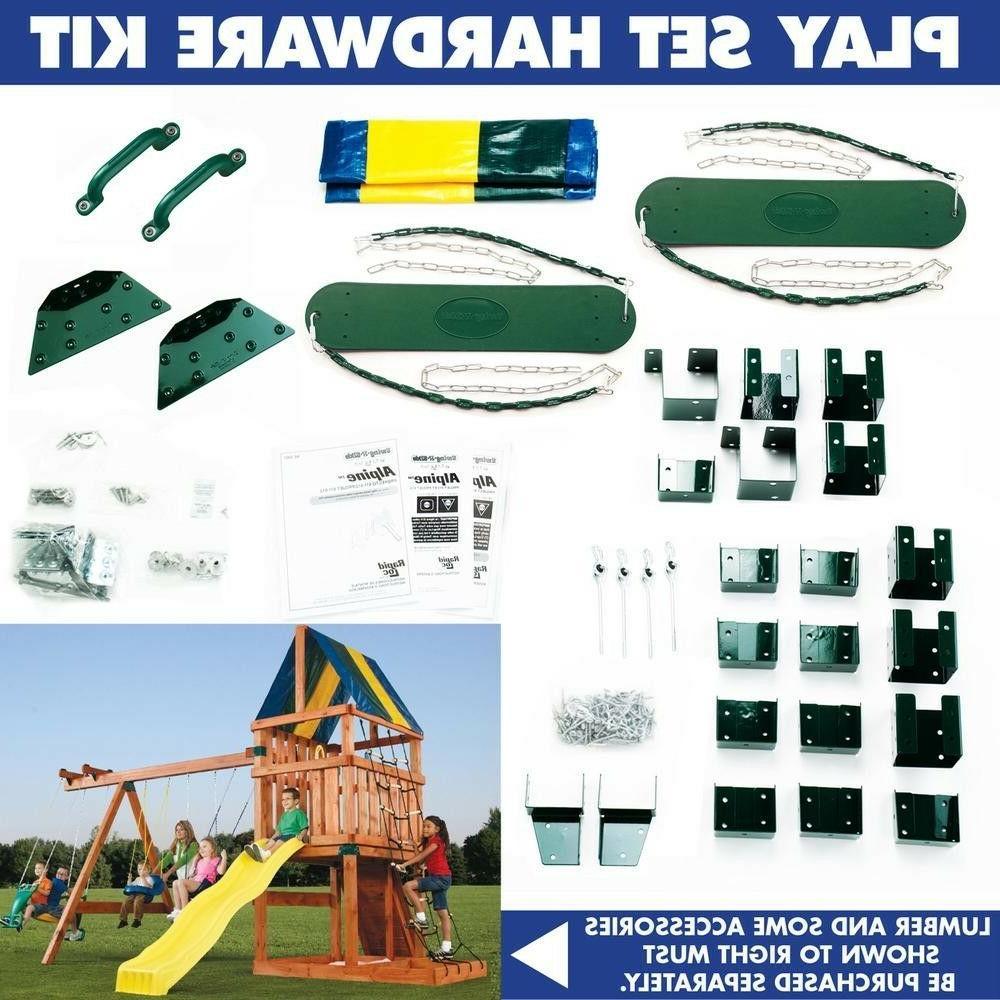 Wooden Swing Outdoor Playhouse Kids Slide