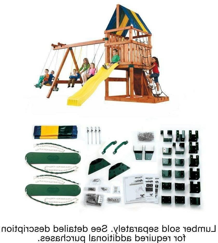 wooden swing set patio outdoor playhouse kit