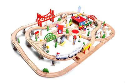 wooden train set toy deluxe city train