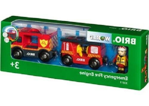 wooden train sets emergency fire engine 3