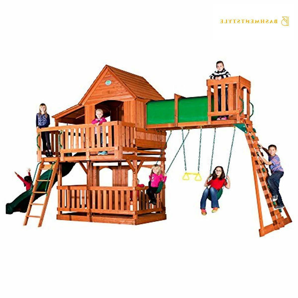 woodridge ii all cedar wood playset swing