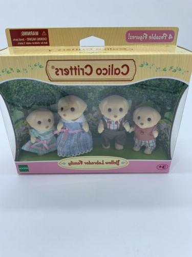 Calico Critters Yellow Labrador Retriever Dogs Family Flocked Velvet New