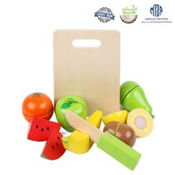 LEO & FRIENDS Wooden Toy Fruit Cutting Set Play Kitchen Food