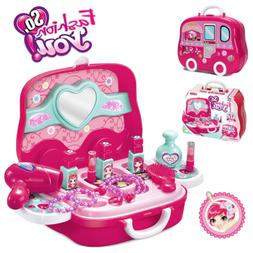 Little Girls Pretend Makeup Kit Cosmetic Pretend Play Set Ki