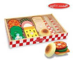 Melissa & Doug Sandwich-Making Set Wooden Play Food, Wooden