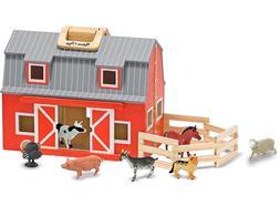 Melissa Doug Fold Go Barn Play Set Wooden Figures Animals Fa