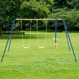 Metal A-Frame Four Seat Swing Set Fun Play Chair Kids Childr
