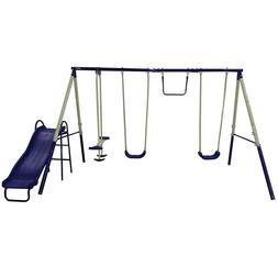 Sportspower Metal Swing Set Outdoor Play Slide Kids Backyard