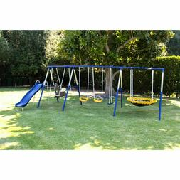 Metal Swing Set Playground Slide Heavy Duty Backyard For Gir