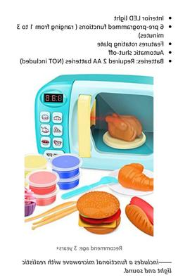 Microwave Oven Toy Play Set, Kids Electronic Pretend Toy wit