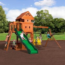 Backyard Discovery Monterey Cedar Swing/Play Set Two upper a