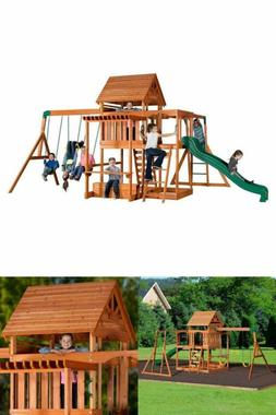 Backyard Discovery Monticello All Cedar Wood Playset Swing S