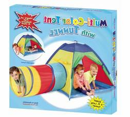 Multicolor Play Tent with Tunnel Pop Up Indoor Outdoor Kids