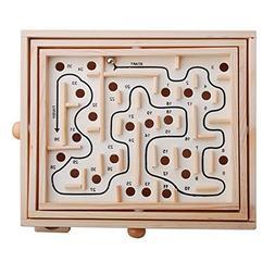 MyLifeUNIT Wood Labyrinth Game, Tilting Balance Maze Game Pa