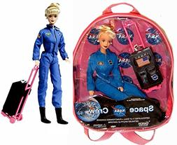 """NASA Blond Space Shuttle Pilot 11"""" Astronaut Doll with Acces"""