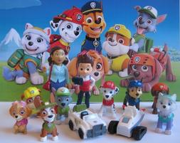 New 12 pcs PAW PATROL Figures Playset Cake Topper Tracker Ev