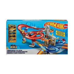 NEW Hot Wheels Auto Lift Expressway Track Playset Inc. 5xVeh