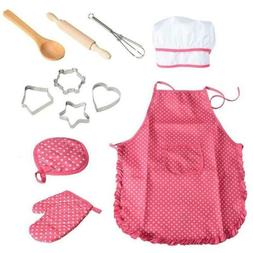 New Kids Cooking Play Set + Apron for Boys Chef Hat Toddler
