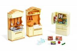 NEW Calico Critters KITCHEN PLAY SET Fridge Stove Food 35 Pc