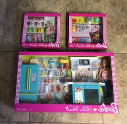 New Pioneer Woman Barbie Doll Kitchen Playset & 2 Outfits Pa