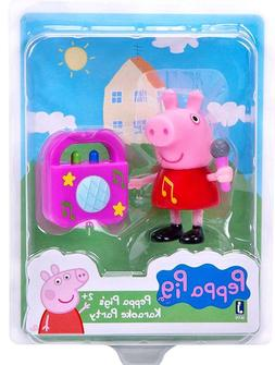 NEW PEPPA PIG'S KARAOKE PARTY Play Set Cake Topper Pig Figur