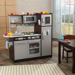 New KidKraft Uptown Espresso Kitchen with 30 Piece Play Food