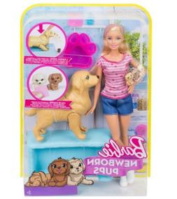 Barbie Newborn Pups Doll and Pets Playset with Puppy Dogs, B