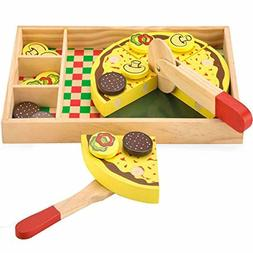 ooden Pizza Pretend Play Pizza Party Play Food Set for Kids