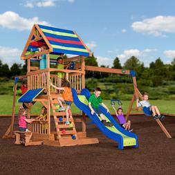 Outdoor Backyard Swingset Playset Kids Slide Fitness Gym Jun