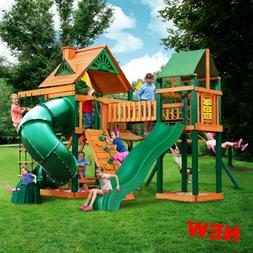 Outdoor Kids Play Ground Swing Set Tube Slide Backyard Tower