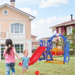 Outdoor Kids Play Slide Set Climber Playset Playground Swing