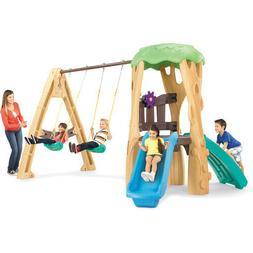 Outdoor Kids Tree House Swing Set Garden Pretend Toy Game Cl