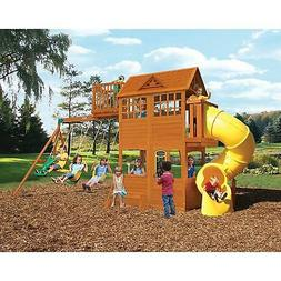 outdoor large wood playground w tube slide