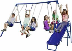 outdoor play set swing with a slide