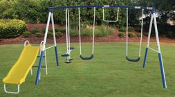 Outdoor Swing Set With a Slide For Kids Playground Metal Pla