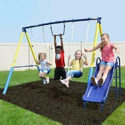 Outdoor Swingset Swing Play Set Metal Kids Playground Playse