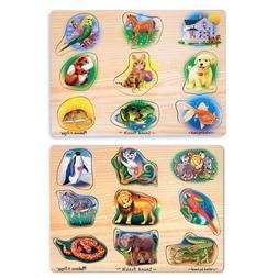 Melissa & Doug Pet & Zoo Animals Sound Puzzle Bundle