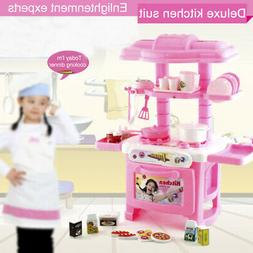 Pink Plastic Kitchen Toy Kids Cooking Pretend Play Set Toddl