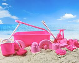 Liberty Imports Pink Princess Beach Wagon Toy Set for Kids w