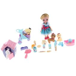 MagiDeal Plastic Baby Girl Doll Pet Store Set with Supplies