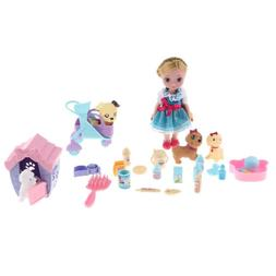Plastic Baby Girl Doll Pet Store Set with Animal Supplies fo