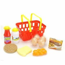 Play Breakfast & Lunch Pretend Play Food Set with Shopping B