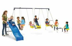 Swing Set Playground Metal Outdoor Play Slide Backyard Swing