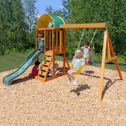 Playground Swing Set Backyard Wooden Frame Play Children Cli