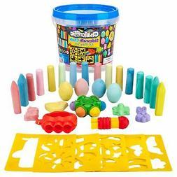 Premium Sidewalk Chalk Art Play Set - Bucket Bundle Of Chalk