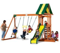 Backyard Discovery Prestige All Cedar Wood Playset Swing Set