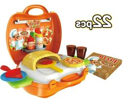 Pretend Kitchen Pizzeria 22pcs Play Set for Kids Cooking Bak